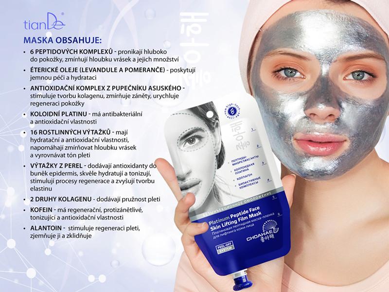 Platinová peptidová slupovací maska na lifting pleti tianDe