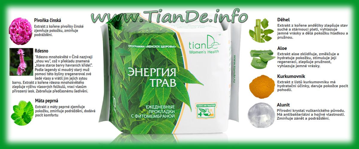 Noční menstruační vložky Energie bylin TianDe