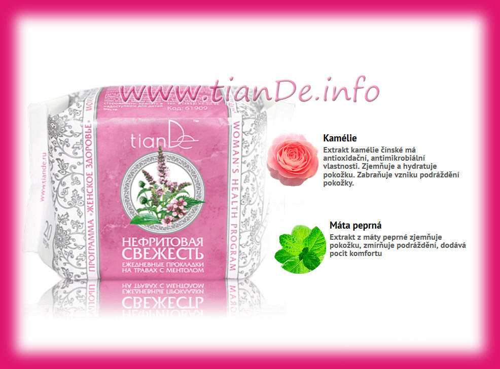 Denní vložky s použitím bylin a mentolem Nefritová svěžest TianDe