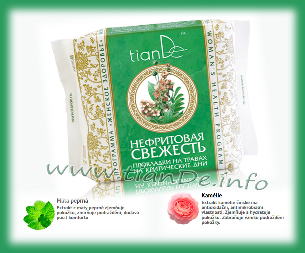 Menstruační vložky nefritová svěžest tianDe, ženské zdraví, intimní hygiena tianDe