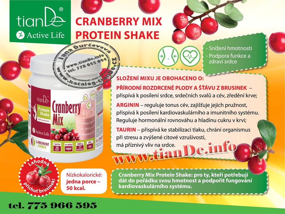 Brusinkový proteinový koktejl mix se sladidlem tianDe