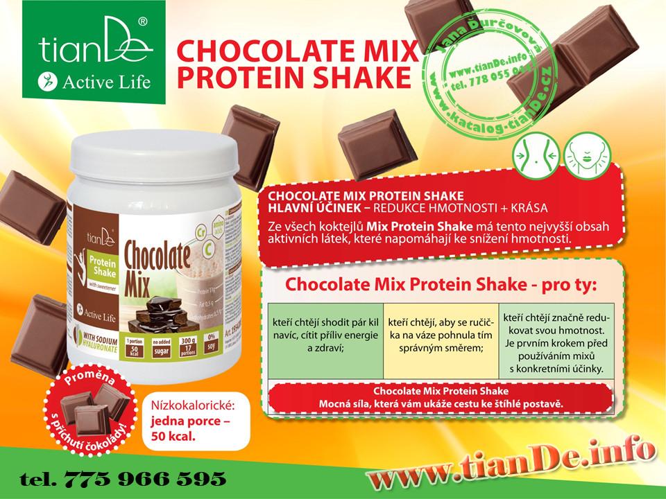 Čokoládový proteinvý koktejl mix se sladidlem tianDe
