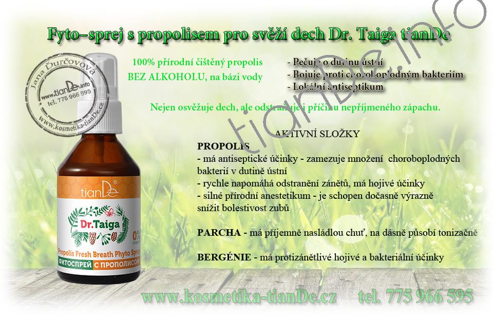 Fyto–sprej s propolisem pro svěží dech Dr. Taiga tianDe