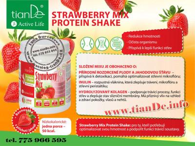 Jahodový proteinový koktejl mix se sladidlem tianDe