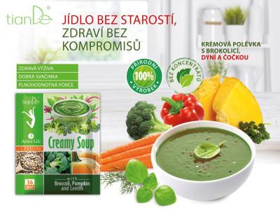 Krémová polévka s brokolicí, dýní a čočkou tianDe
